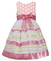 Little Girls 2T-6X Embroidered Ribbon Organza Overlay Dress (4, Coral/Yellow)