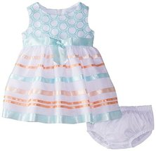 Little Girls 2T-6X Embroidered Ribbon Organza Overlay Dress (4, Coral/Yellow) image 2