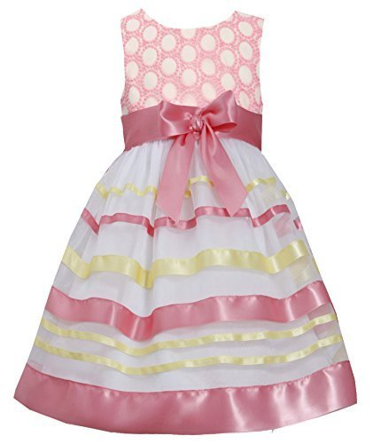Little-Girls 2T-6X Embroidered Ribbon Organza Overlay Dress, 5, Coral, Bonnie...