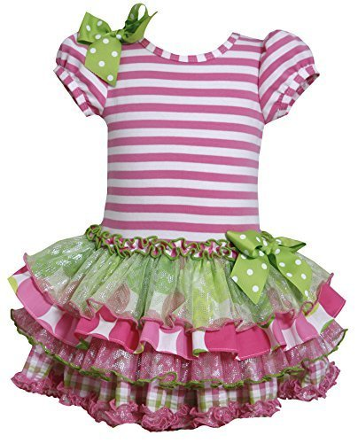 Little Girls 2T-6X Stripe Knit to Mix Print Drop Waist Dress (2T, Pink)