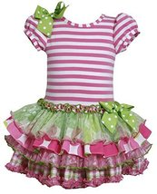 Little Girls 2T-6X Stripe Knit to Mix Print Drop Waist Dress (2T, Pink) image 1