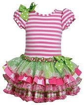 Little Girls 2T-6X Stripe Knit to Mix Print Drop Waist Dress (2T, Pink) image 2