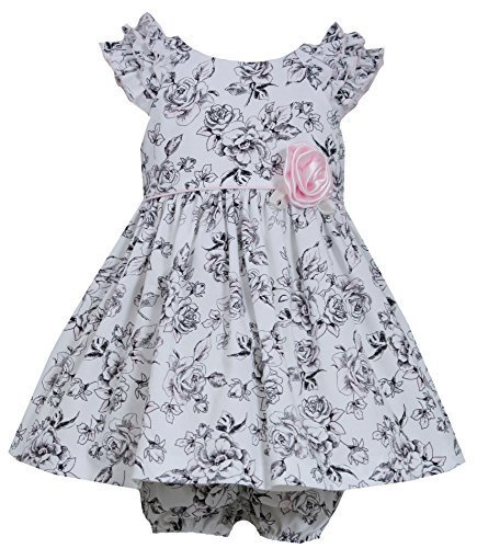 Baby-Girls Newborn 3M-9M Ruffle Shoulder Rose Floral Toile Print Dress, Bonni...