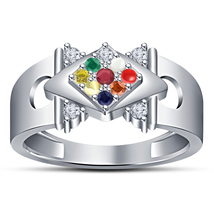 HOT Fashion 14k White Gold Fn Solid Sterling Silver Multi-Color Navratna... - $98.99