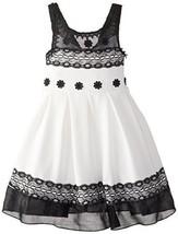 Bonnie Jean Little Girls' Knit To Lace Trimmed Dress, Black/White, 6X [Apparel]