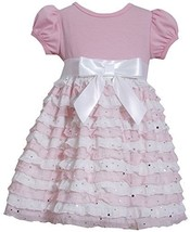 Little-Girls 2T-6X Pink White Spangle Eyelash Ruffles Dress (4T, Pink) [Apparel]