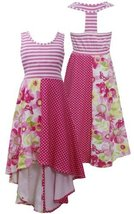Pink T-Back Stripe to Colorblock Print High Low Knit Dress PK4BA, Pink, Bonni...