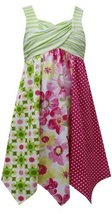 Little Girls Lime-Green Crossover Stripe Mix Print Colorblock Dress (6, Lime) image 2