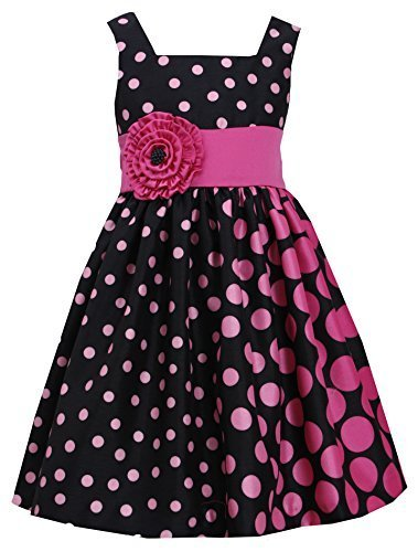 Little Girls 4-6X Fuchsia-Pink Black Gradient Dot Shantung Dress, FC3BU, Fuch...
