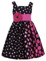 Little Girls 4-6X Fuchsia-Pink Black Gradient Dot Shantung Dress, Fuchsia, 5