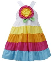 Baby Girls 12M-24M Fuchsia-Multi Big Rosette and Bold Colorblock Tier Dress (... image 1