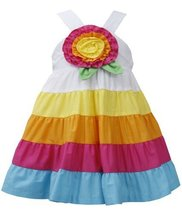 Baby Girls 12M-24M Fuchsia-Multi Big Rosette and Bold Colorblock Tier Dress (... image 2