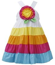 Little Girls 2T-6X Fuchsia-Multi Big Rosette and Bold Colorblock Tier Dress (... image 1