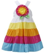 Little Girls 2T-6X Fuchsia-Multi Big Rosette and Bold Colorblock Tier Dress (... image 2