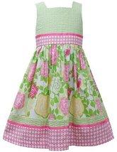 Pink Green T-Back Seersucker Rose Floral Print Dress PK3SA, Pink, Bonnie Jean...