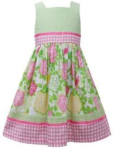 Pink Green T-Back Seersucker Rose Floral Print Dress PK3SP, Pink, Bonnie Jean...
