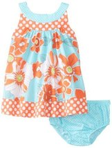 Bonnie Baby Baby-Girls Newborn Floral and Dot Print Panty Set, Coral, 3-6 Months
