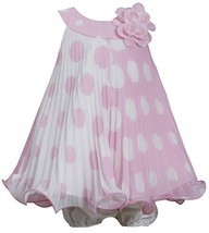Baby Girls NEWBORN 3M-9M Pink White Colorblok Dot Print Pleated Trapeze Dress...