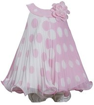 Baby-Girls 3M-24M Pink White Colorblok Dot Print Pleated Trapeze Dress (3-6 M... image 1