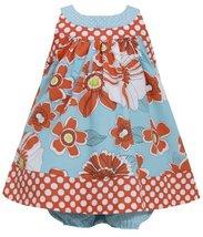 Baby Girls 3M-24M Coral Aqua-Blue Dots and Island Floral Print Trapeze Dress ... - $28.61