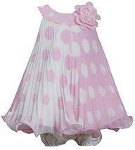 Baby-Girls 3M-24M Pink White Colorblok Dot Print Pleated Trapeze Dress (6-9 M... image 1
