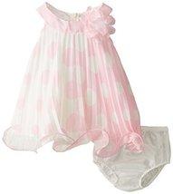Baby-Girls 3M-24M Pink White Colorblok Dot Print Pleated Trapeze Dress (6-9 M... image 2