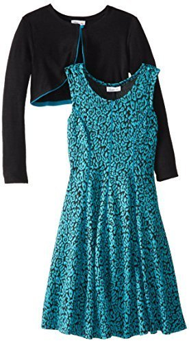 Bonnie Jean Little Girls' 4-6X Jacquard Fit and Flare Dress with Cardigan Set...