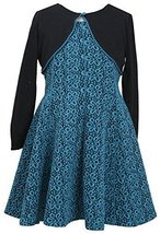 Bonnie Jean Little-Girls 4-6X Jacquard Dress with Knit Cardigan (6X, Turquoise)