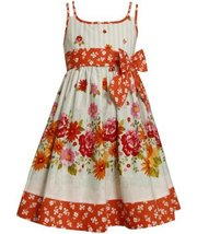 Aqua-Blue Orange Floral and Stripes Doubel Strap Dress AQ3FV,Bonnie Jean Litt...