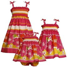 Size-12M BNJ-3374M 2-Piece FUCHSIA-PINK YELLOW STRIPE and FLORAL BORDER PRINT... image 2
