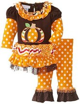 Bonnie Baby Baby-Girls Newborn Pumpkin Twofer Legging Set, Brown, 3-6 Months