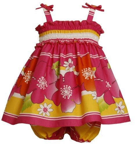 Bonnie Baby Girls' Smocked Bodice Sundress with Stripes and Flowers, Fuschia,...