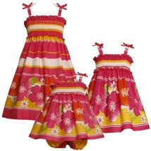 Size-18M BNJ-3374M 2-Piece FUCHSIA-PINK YELLOW STRIPE and FLORAL BORDER PRINT... image 1