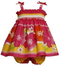 Bonnie Baby Girls' Smocked Bodice Sundress with Stripes and Flowers, Fuschia,... image 1
