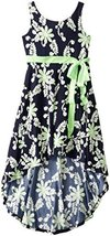 Little Girls Navy-Blue Green Floral Crossover Wrap High Low Dress (4, Navy) image 2