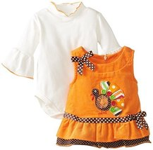 Bonnie Baby Baby-Girls Newborn Turkey Applique Corduroy Jumper BH1, Orange