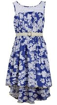 Little Girls Blue/White Belted Illusion Lace Floral Chiffon High Low Dress, R...