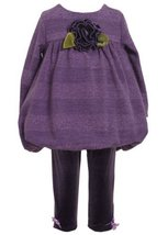 Bonnie Baby-girls Infant Stripe Glitter Knit Bubble Top With Knit Legging (6-...