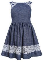 Little-Girls 2T-4T Blue White Lace Border Trim Knit Chambray Dress, Bonnie Je... image 2