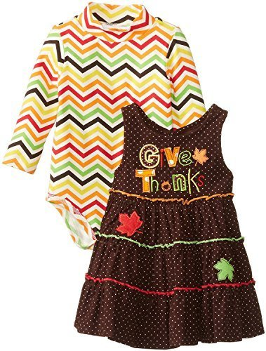 Bonnie Jean Baby Girls Infant 12M-14M Give Thanks Appliqued Jumper Set (12 Mo...