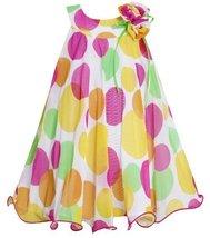 Yellow Pink U-Neck Multi Dot Mesh Overlay Trapeze Dress YL3BU, Yellow, Bonnie...