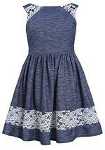 Little-Girls 2T-4T Blue White Lace Border Trim Knit Chambray Dress, Bonnie Je...