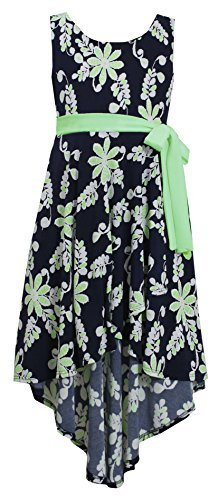 Little Girls Navy-Blue Green Floral Crossover Wrap High Low Dress (6X, Navy)