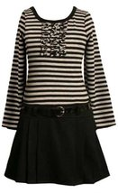 Bonnie Jean Little-Girls 2T-6X Grey Black Stripe Solid Pleated Drop Waist Dre...