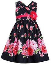 Big-Girls Tween Black Red Bold Floral Print Cross Over Cotton Dress (12, Black)