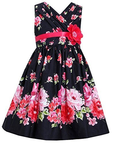 Big-Girls Tween Black Red Bold Floral Print Cross Over Cotton Dress (14, Black)