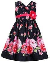 Big-Girls Tween Black Red Bold Floral Print Cross Over Cotton Dress (14, Black)
