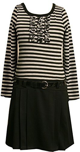 Bonnie Jean Little Girls' 2T-6X Stripe Knit Bodice To Black Skirt (3T, Grey)