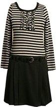 Bonnie Jean Little Girls' 2T-6X Stripe Knit Bodice To Black Skirt (3T, Grey)