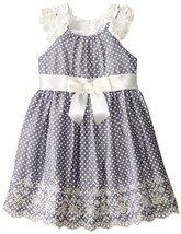 Baby Girls Infant Blue-Chambray Pin Dot Ruffle Sleeve Embroider Border Dress,... image 2